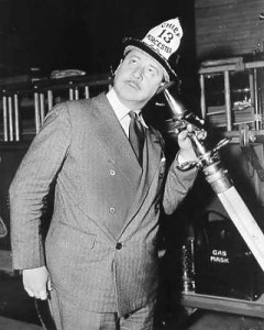 Photo of Robert Benchley practicing his duties as Honorary Fire Chief of his hometown of Worcester, Mass.  (The next picture taken was damaged by water.)
